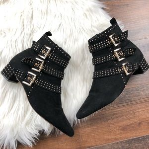 Topshop Black Suede Gold Stud Buckle Ankle Boots